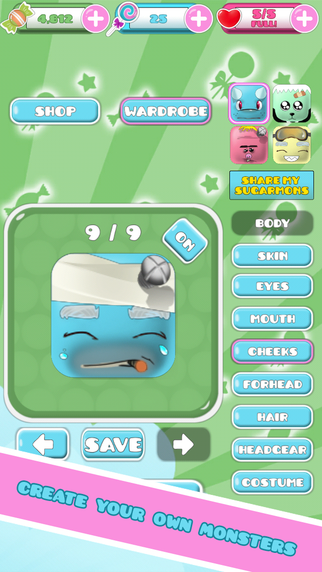 Sugarmons - Advanced Character Customization Puzzle Game for iOS