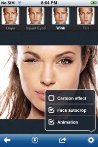 AR Pho.to Cartoonizer, winking, animation, face autocrop